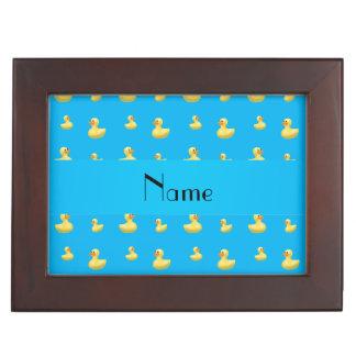 Personalized name sky blue rubber duck pattern keepsake box