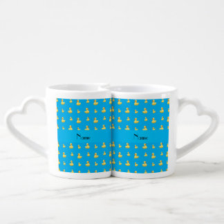 Personalized name sky blue rubber duck pattern lovers mug