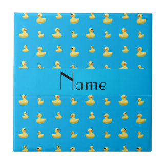 Personalized name sky blue rubber duck pattern small square tile