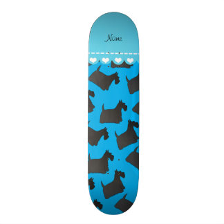 Personalized name sky blue scottish terrier dogs skate board deck