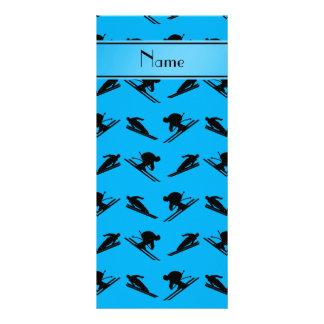 Personalized name sky blue ski pattern rack card