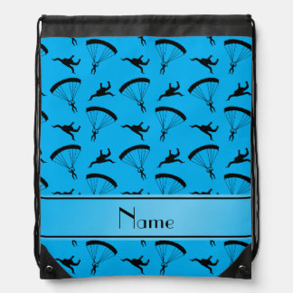 Personalized name sky blue skydiving pattern drawstring bag