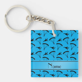 Personalized name sky blue skydiving pattern Single-Sided square acrylic key ring