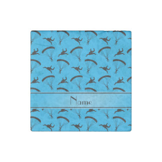 Personalized name sky blue skydiving pattern stone magnet