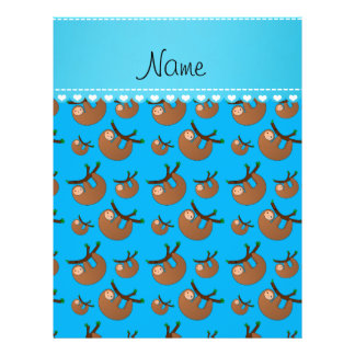 Personalized name sky blue sloth pattern 21.5 cm x 28 cm flyer