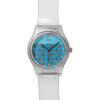 Personalized name sky blue sloth pattern watch