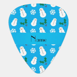 Personalized name sky blue snowman christmas pick