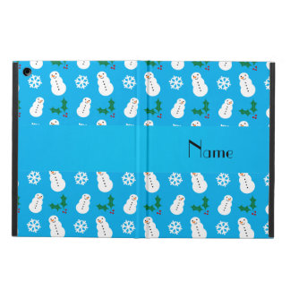 Personalized name sky blue snowman christmas iPad air cover