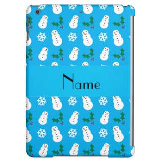 Personalized name sky blue snowman christmas cover for iPad air