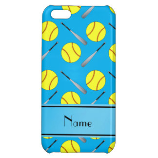 Personalized name sky blue softball pattern cover for iPhone 5C