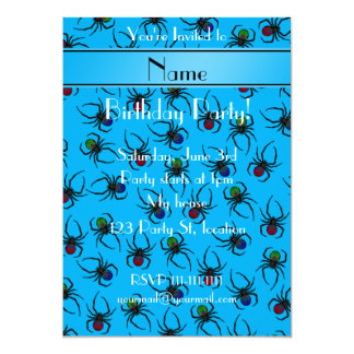 Personalized name sky blue spiders 13 cm x 18 cm invitation card
