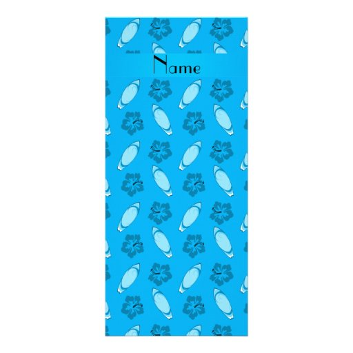 Personalized name sky blue surfboard pattern custom rack cards