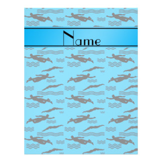 Personalized name sky blue swimming pattern 21.5 cm x 28 cm flyer