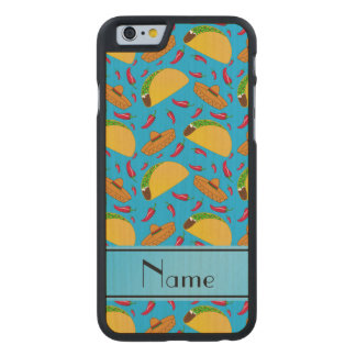 Personalized name sky blue tacos sombreros chilis carved® maple iPhone 6 slim case