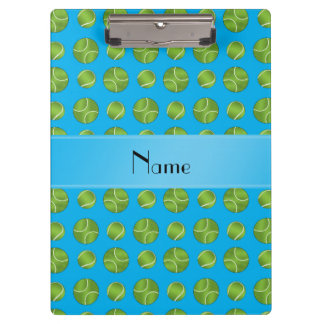 Personalized name sky blue tennis balls pattern clipboard