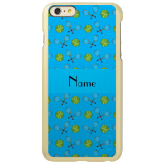 Personalized name sky blue tennis balls rackets iPhone 6 plus case