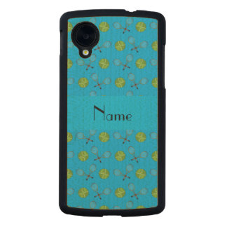 Personalized name sky blue tennis balls rackets carved® maple nexus 5 case