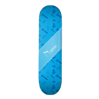 Personalized name sky blue tools pattern skateboard deck