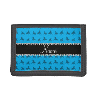 Personalized name sky blue unicorn pattern trifold wallets
