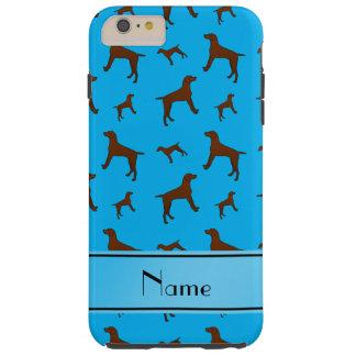 Personalized name sky blue Vizsla dogs Tough iPhone 6 Plus Case