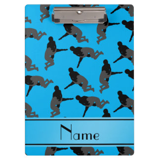 Personalized name sky blue wrestling clipboard