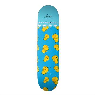 Personalized name sky blue yellow chicks skate board decks