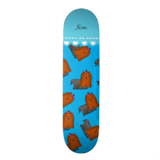 Personalized name sky blue yorkshire terriers skate boards