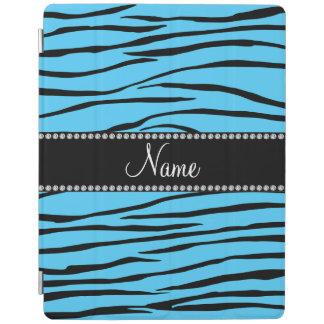 Personalized name sky blue zebra stripes iPad cover