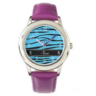 Personalized name sky blue zebra stripes watch