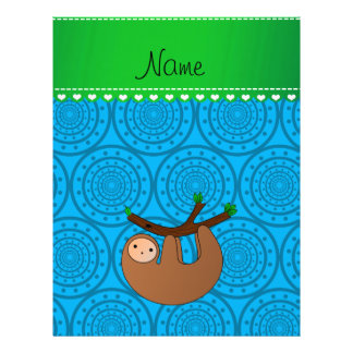 Personalized name sloth blue circles 21.5 cm x 28 cm flyer