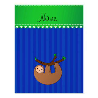 Personalized name sloth blue stripes 21.5 cm x 28 cm flyer