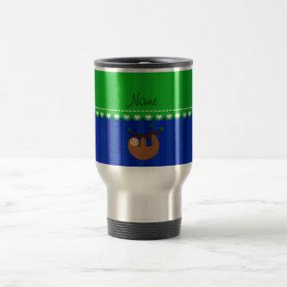 Personalized name sloth blue stripes travel mug