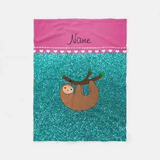 Personalized name sloth bright aqua glitter fleece blanket