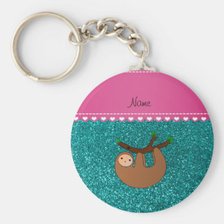 Personalized name sloth bright aqua glitter key ring