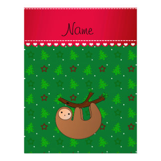 Personalized name sloth green christmas trees 21.5 cm x 28 cm flyer