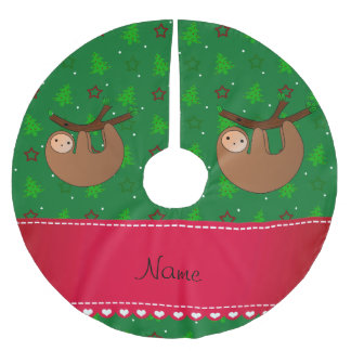 Personalized name sloth green christmas trees brushed polyester tree skirt