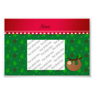 Personalized name sloth green christmas trees art photo