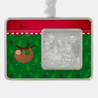 Personalized name sloth green christmas trees silver plated framed ornament