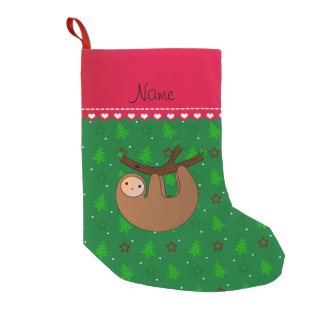 Personalized name sloth green christmas trees small christmas stocking