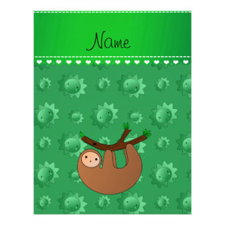 Personalized name sloth green suns 21.5 cm x 28 cm flyer