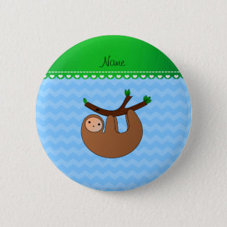Personalized name sloth pastel blue chevrons 6 cm round badge