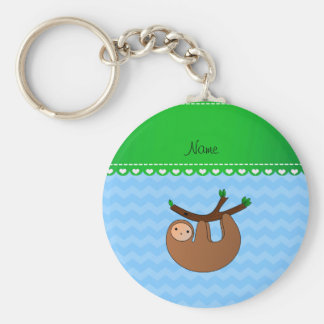 Personalized name sloth pastel blue chevrons key ring
