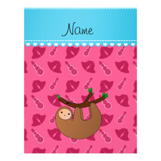 Personalized name sloth pink bells snowmen 21.5 cm x 28 cm flyer