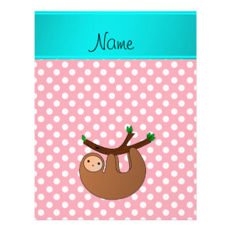 Personalized name sloth pink polka dots 21.5 cm x 28 cm flyer