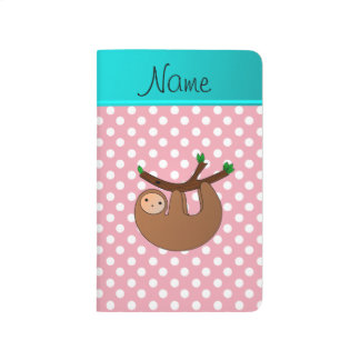 Personalized name sloth pink polka dots journal