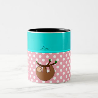 Personalized name sloth pink polka dots Two-Tone mug