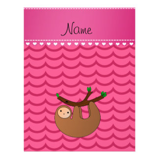 Personalized name sloth pink waves 21.5 cm x 28 cm flyer