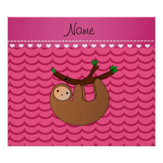 Personalized name sloth pink waves poster