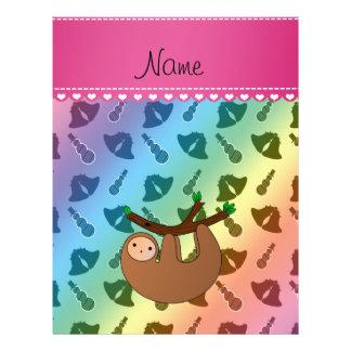 Personalized name sloth rainbow bells snowmen 21.5 cm x 28 cm flyer