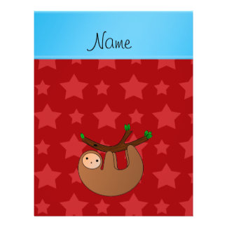 Personalized name sloth red stars 21.5 cm x 28 cm flyer